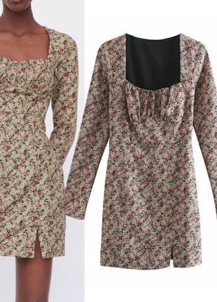Короткое платье в цветы от zara / сукня від zara.
