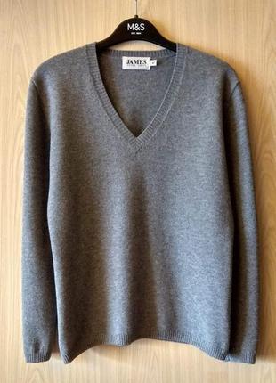 Шерстяной свитер peter james (англия), серый джемпер 100% шерсть, пуловер, р. м