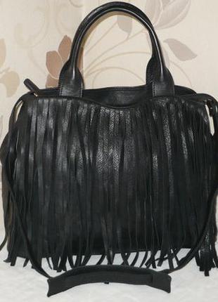 Vera pelle entra большая чёрная кожаная сумка шопер с бахромой шкіряна сумка