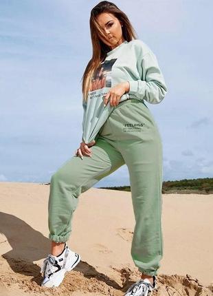 Штани штаны спортивные на манжете резинке с надписями завышенной талией высокой посадкой модные стильные салатовые зелёные зеленые салатові зелені
