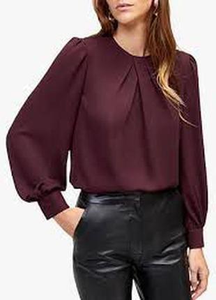 Блуза женская бордовая, длинный рукав фонарик