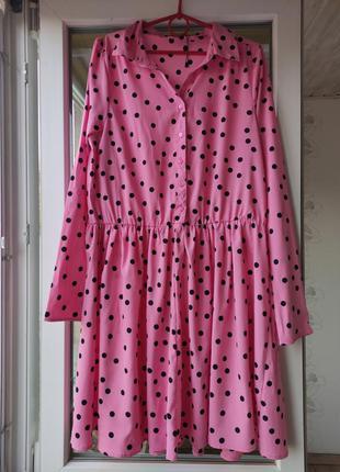 Платье в горошек с длинным рукавом / сукня в горошок