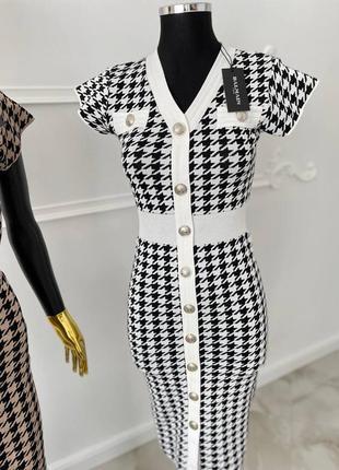Шикарное женское платье в стиле balmain🔥lux качество, белое-чёрное
