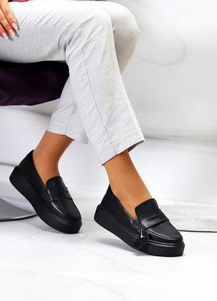 Стильные кожаные черные мокасины лоферы натуральная кожа на утолщенной подошве