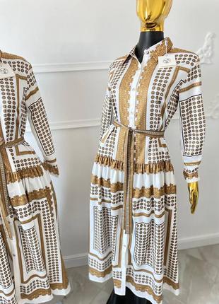 Шикарное женское платье в стиле hermes birkin🔥lux качество, коричневое-белое