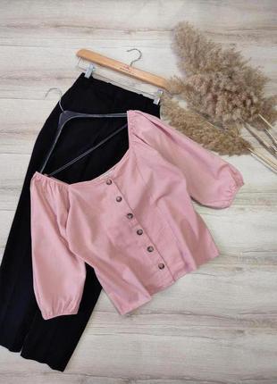 Хлопковая блуза с добавлением льна f&f p l