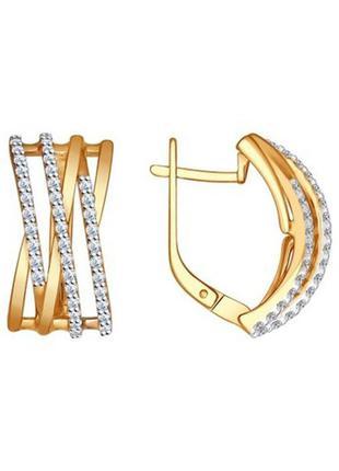 Женские серьги золотистого цвета с кристаллами