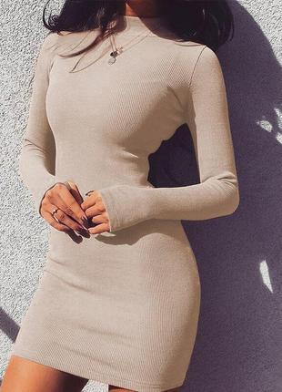Платье плаття сукня в рубчик с рукавами под шею митенками короткое мини стильное модное беж бежевое бежеве