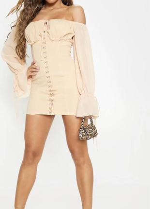 Плаття міні платье бежевое мини короткое с объемными рукавами