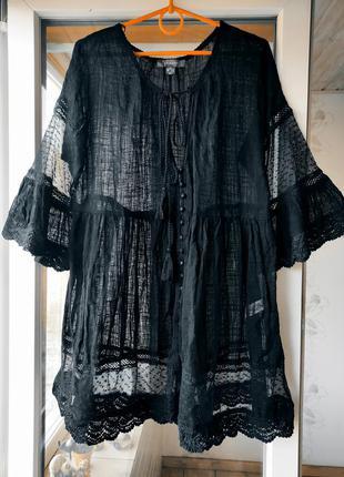 Платье свободного кроя / платье на пляж /платье хлопковое / сукня вільного крою