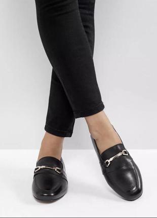 Кожаные чёрные туфли лоферы asos мокасины