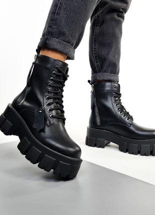 Женские ботинки, ботинки деми, чёрные ботинки, кожаные ботинки, 26499