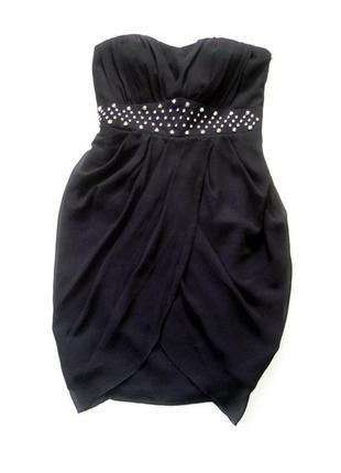 Винтажное вечернее короткое чёрное платье бюстье vila clothes