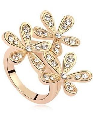 🏵золотистое кольцо в стразах цветы, 17 р., новое! арт. 6683