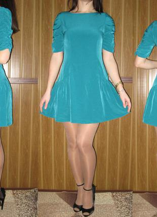 """Роскошное короткое платье от """"asos"""" со сборками на рукавах. 8 р. новое!"""
