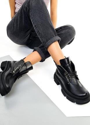 Ботинки деми, женские ботинки ,чёрные ботинки, кожаные ботинки, 26500