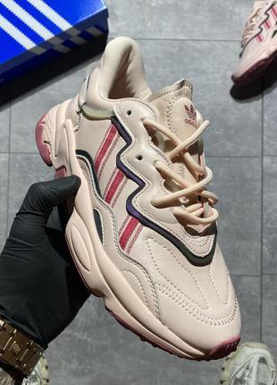 Женские розовые шикарные кожаные кроссовки adidas ozweego  🆕осенние адидас озвиго