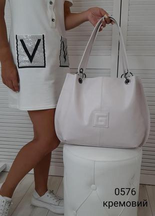 Новая вместительная кремовая сумка