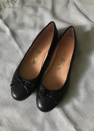 Чёрные балетки с бантиками натуральная кожа 41 размер