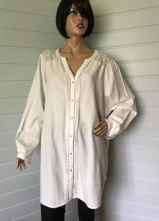 Рубашка большого размера лен+вискоза