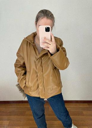 Короткая куртка эко кожа