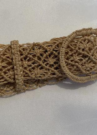 Соломяний плетегий ремінь вінтаж