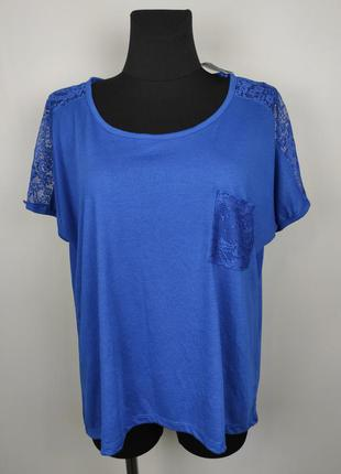 Блуза футболка новая красивая с кружевом большого размера george uk 18/46/xxl