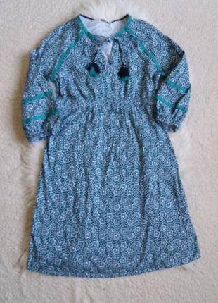 Хлопковое платье миди с актуальными широкими рукавами