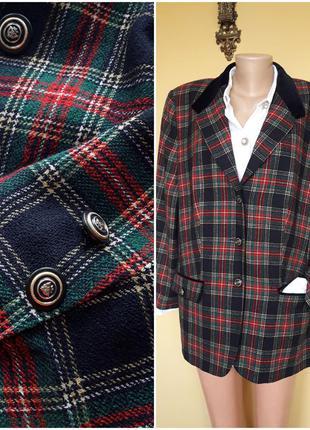Пиджак,жакет блейзер,винтаж,шерсть,клетка