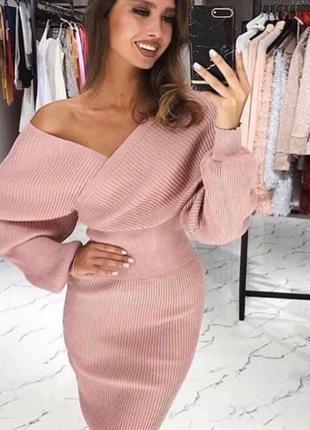Красивый элегантный костюм юбка миди и кофта на запах с люрексом