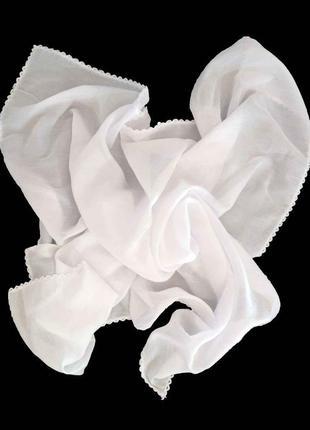 Хлопковый платок хустка белый 100% хлопок однотонный натуральный новый качественный