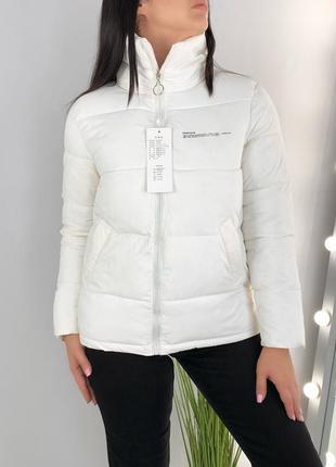 Куртка пуфер белая стёганая демисезонная  pangaya