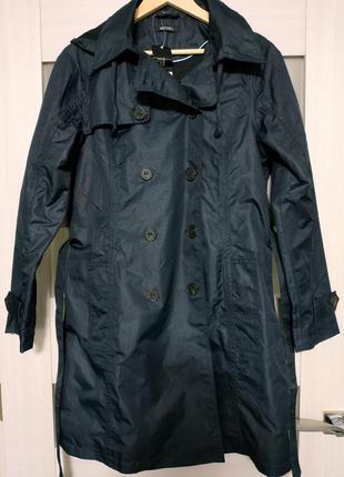 Плащ пальто тренч на пуговицах с капюшоном тёмно-синий esmara