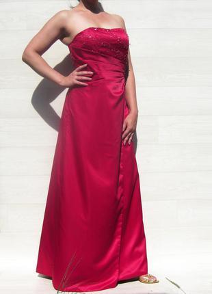 Платье berkertex emily fox в пол атласное выпускное бордовое красное обшитое бисером