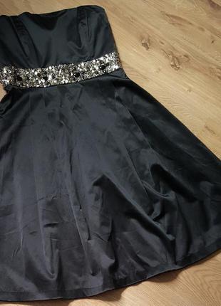 Платье zara чёрное вечернее выпускное с бисером пайетками корсетное бюстье