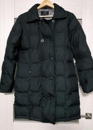 Пуховик пальто черный прямого кроя с карманами per una