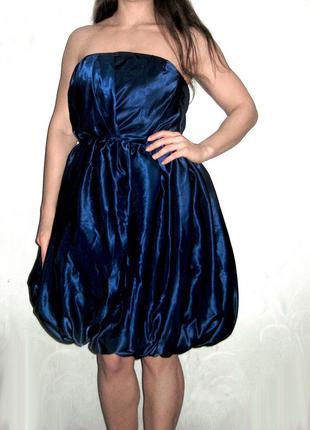 Экстравагантное вечернее пышное массивное платье синее copenhagen