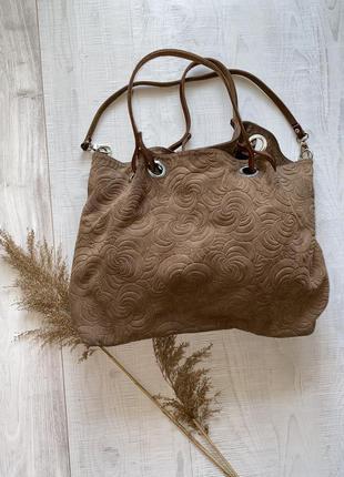 Кожаная замшевая сумка в узор италия