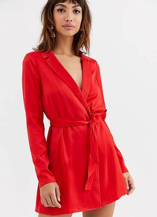 Атласное платье-смокинг мини с поясом asos design