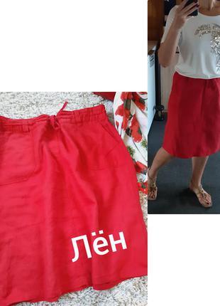 Красная льняная юбка миди , с карманами , m&s, p. 14