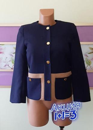 1+1=3 стильный качественный плотный синий пиджак на пуговицах h&m, размер 42 - 44