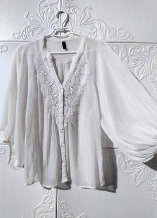 Шикарная нежная блуза vero moda белая с кружевом