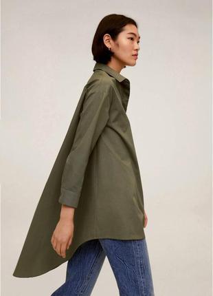 Удлиненная рубашка оверсаз хаки mango
