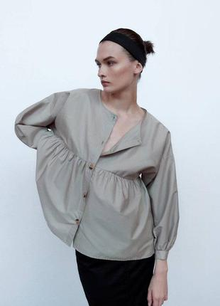 Хлопковая блуза оверсайз zara