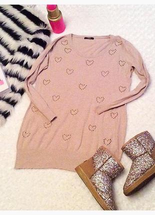 Свитер/платье с сердечками
