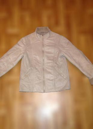 Дублёнка куртка бежевая тёплая замшевая