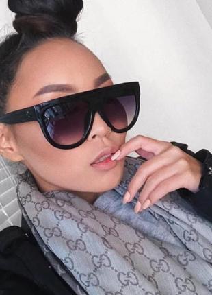 Тренд новые солнцезащитные очки маска черные большие ретро окуляри сонцезахисні чорні великі