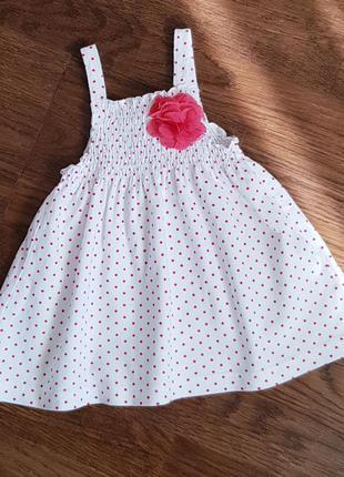 Котоновий білий сарафан плаття в червоний горошок на дівчинку 2р.
