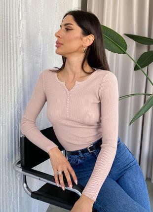 Джемпер свитер в рубчик с декоративной планкой турция