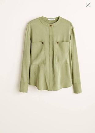Зеленая блуза с карманами mango